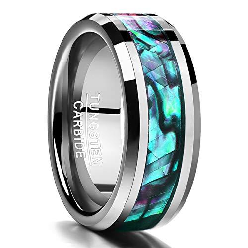 Nuncad Herren Damen Ring aus Wolfram mit Abalone-Muschel Metallic + Mehrfarbig 8mm Breit für Hobby Lifestyle Geburtstag Valentinstag Hochzeit Größe 59 (19)