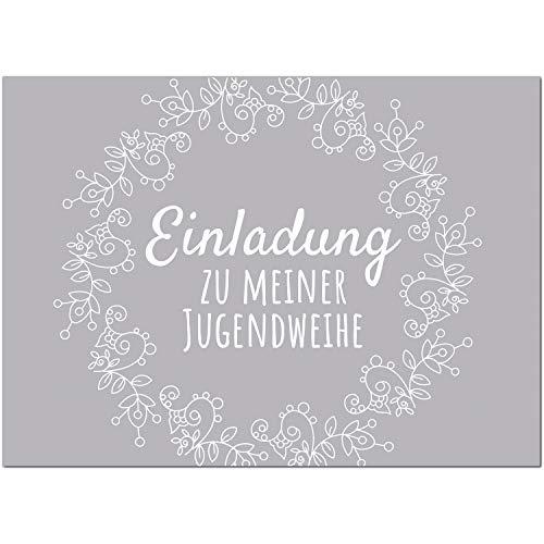 15 x Einladungskarten zur Jugendweihe mit Umschlag/Grau schlicht für Mädchen und Jungen/Jugendweihekarten/Einladungen zur Feier