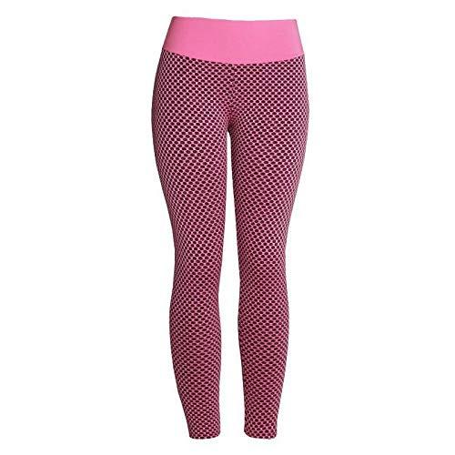 ArcherWlh Leggings,Neto Red Honeycomb Joy Pantalones de Yoga Ladies Europa y los Estados Unidos Leggings Deportivos de Cintura Alta sin Fisuras Pantalones de Fitness de Hip Mujeres-Rosa roja_SG