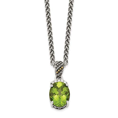 Sterling Silver and 14k Yellow Gold Peridot and Diamond Necklace