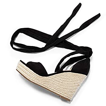 Huiyuzhi Womens Lace Up Wedge Espadrille Sandals Peep Toe Criss Cross D'Orsay Dress Sandals