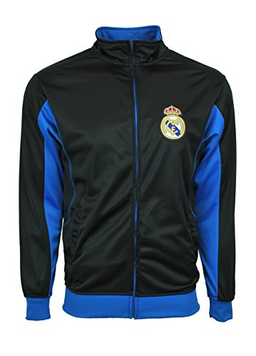 Real Madrid Jacket Track Soccer Adult Sizes Soccer Football Official Merchandise (Black, M)