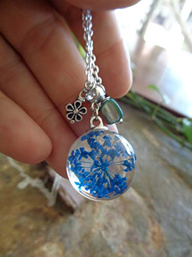 •   FLOR AZUL - VERANO - FLOR DE MAÍZ - FLOR REAL - FLOR - CON MADRE DE PERLA - BOLA GRUESA   •  cadena larga con flor de resina fundida, con colgante y trozo de nácar azul