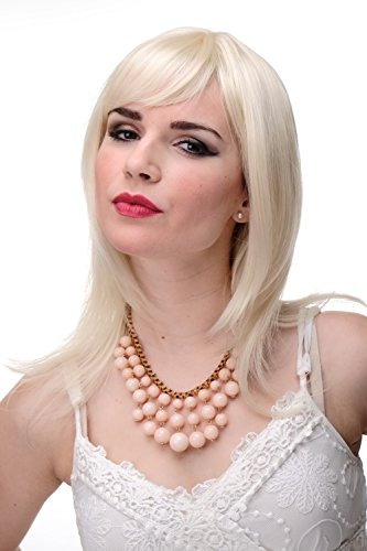 WIG ME UP - 3003-303/220 Schulterlange Damen Perücke Blond Blond-Mix glatte Haare mit Pony ca. 50 cm