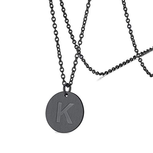 FaithHeart Buchstabenkette K Damen Rundeanhänger mit 46cm+5cm Ankerkette für Jeden Tag