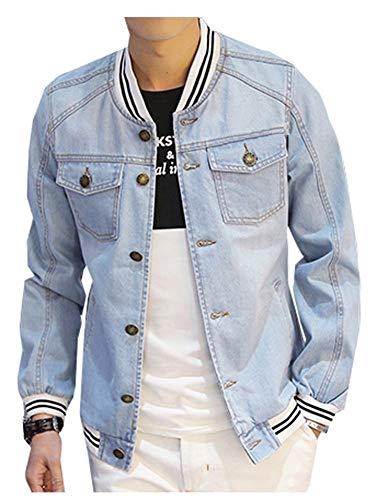 LifeHe Men's Denim Bomber Jacket Slim Fit 2017 (M, Light Blue)