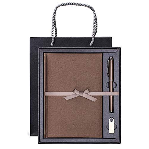 Cuadernos de taquigrafía Set de regalo para notebook Reuniones de negocios Exhibición de obsequios Exhibición de eventos de regalo Papelería de oficina (notebook + Gel Pen + U Disk), Se puede personal