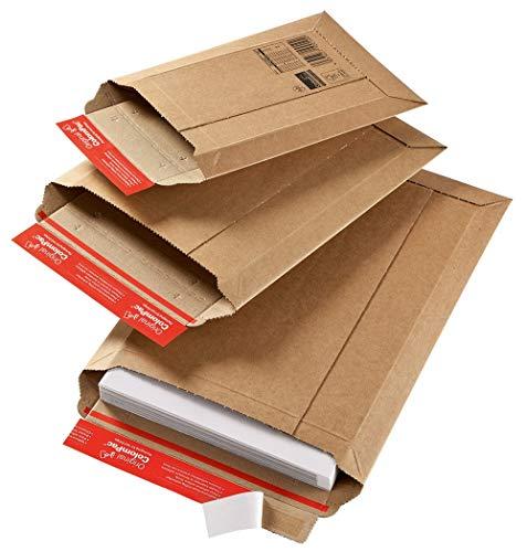 Versandtasche aus Wellpappe Karton mit Selbstklebeverschluss und Aufreissfaden | CP010.04 Innenmaß 235x340x35mm | braun| 100 Stück