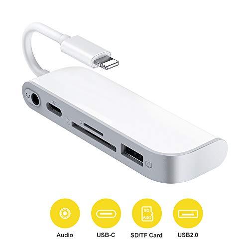 SD TF Karte 3,5 mm Audio Kamera Adapter, 5 in 1 Kartenleser Adapter mit 1 USB 2.0 OTG Schnittstelle, SD TF Kartenleser 1 PD Port 3,5 mm Klinke Audio für Phone Pad Keine App erforderlich