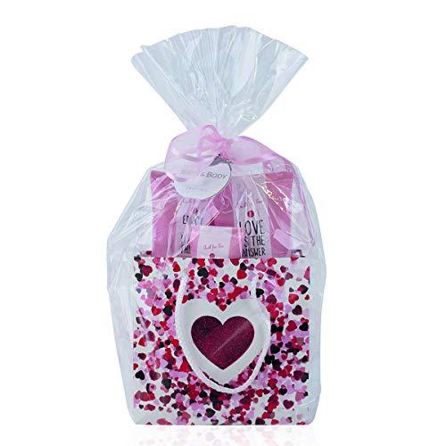 Accentra Beauty Geschenkset JUST FOR YOU in Glitter Geschenktasche mit Duschgel, Bodylotion, Hand und Nagelcreme Duft: Erdbeere & Vanille