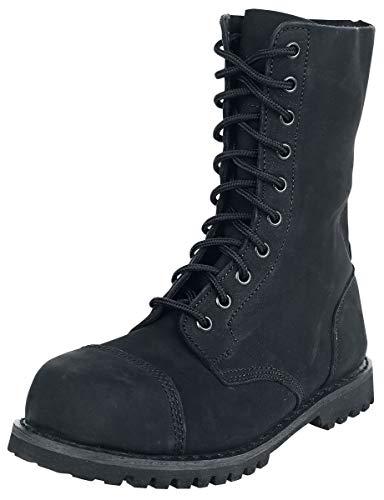 Brandit - Phantom Boots 10 Loch Nubuk Schuhe mit Stahlkappe Schwarz Größe 45 (UK11)