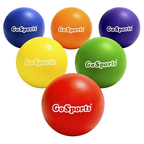GoSports Strong Skin Foam Playground Dodgeballs – 6 Pack for Kids (6 in) & Adults (7 in) – w/Mesh Carry Bag, Multicolor, 6 Inch