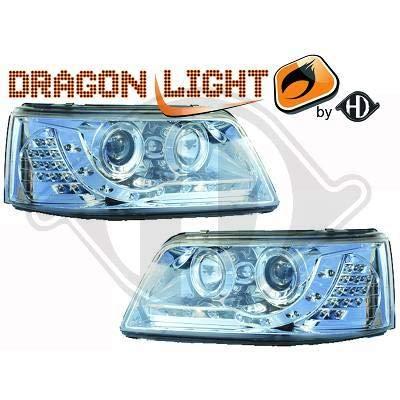 2272385, par de luz Faros Daylight LED cromado para T5Caravelle, Multivan de 2003a 2010