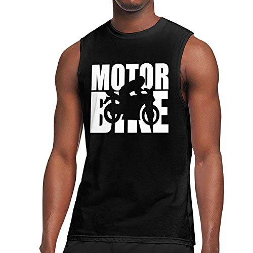 WLQP Camiseta sin Mangas para Hombre Motorbike Word with Cutout Silhouette-1 Mens Tank Top Gym Fitness Underwear Shirt