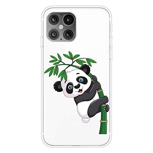 """Nadoli Transparent Silikon Hülle für iPhone 12 Pro Max 6.7"""",Durchsichtig Klar Lustig Kreativ Leicht Dünn Weiche Stoßfest Handyhülle Schutzhülle mit Katzenbär Bambus Muster"""