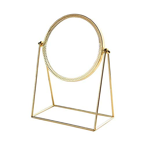 LBSC Make-up-Spiegel, abnehmbar und 360 Grad drehbar, Metall, Kosmetikspiegel, handgefertigt, goldfarben