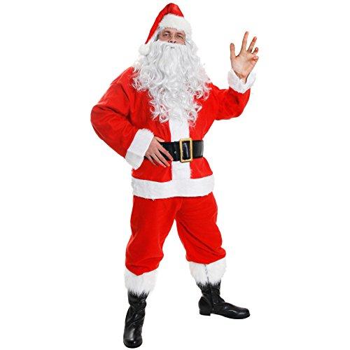 Costume da Babbo Natale, lussuoso, 10 pezzi, travestimento con giacca, pantaloni, cappello, cintura, parrucca, barba e copristivali, costume adatto fino a 147 cm di torace, disponibile in 8 taglie (S - XXXXXL)