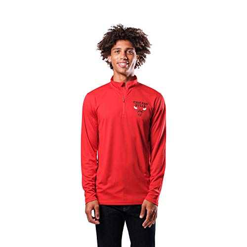 Ultra Game NBA Chicago Bulls Mens Quarter-Zip Pullover Active Shirt, Team Color, XX-Large