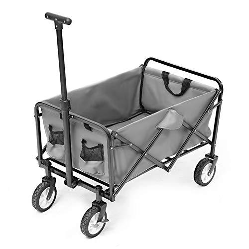 Einkaufstrolleys Outdoor-Camping-Trolley Portable Bollerwagen Klappwagen Zum Einkaufen Und Lebensmittel Tragender 80kg Einkaufskörbe & -Taschen (Color : Gray, Size : 76 * 49.5 * 88cm)