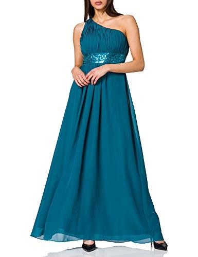 Astrapahl Damen Kleid One Shoulder mit Pailletten, Maxi, Einfarbig, Gr. 38, Türkis