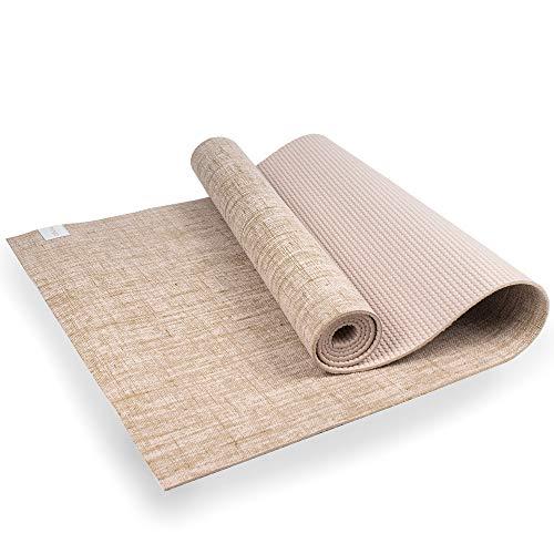 Myga RY1313 - Esterilla de yoga de yute para suelo vegano de alto rendimiento, alfombrilla de yoga ecológica biodegradable con respaldo de PVC, 5 mm de grosor, color blanco
