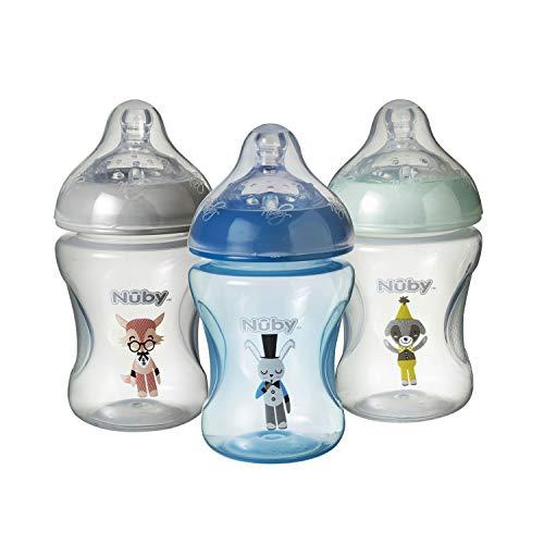Nuby Baby Flasche Set Anti Colic mit Slow Flow Easy Latch Sauger 3 Fläschchen 240 ml inkl. passendem Schnuller