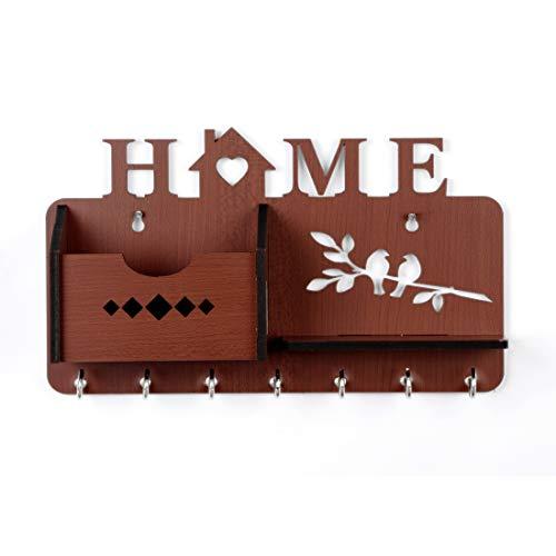 Sehaz Artworks Home-Side-Shelf-Brown-Wall_Shelves Wooden Shelf | Keyholder| (with 7 Keys Hooks)