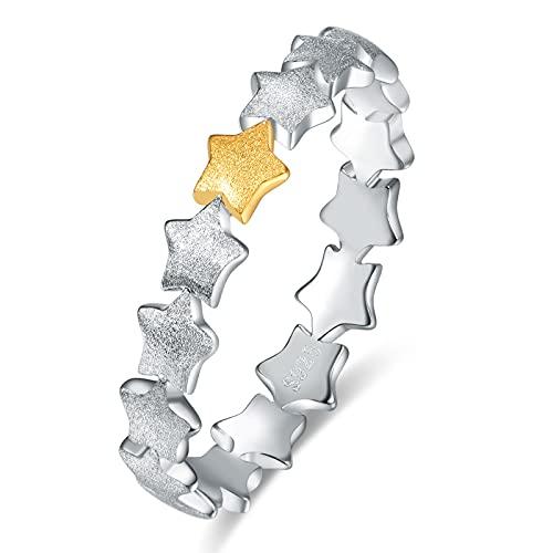Anillo para mujer, de plata de ley 925, anillo ajustable para mujer, anillos abiertos, tamaño Q, joyería regalos para su madre, Plata de ley.,