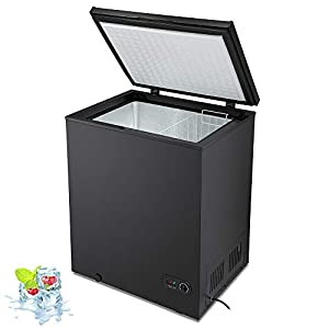 Kismile 5.0 Cubic Feet Chest Freezer with Removable Basket Free Standing Top open Door Compact Freezer with Adjustable Temperature for Home/Kitchen/Office/Bar (5.0 Cubic Feet, Black)