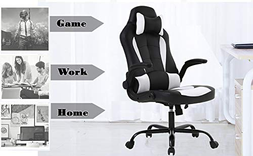 PC Gaming Chair Ergonomic Office Chair High-Back Computer Desk Chair Adjustable PU Leather Racing Office Chair with Massage Function Lumbar Support Headrest Armrest,Reclining Swivel Task Chair - White