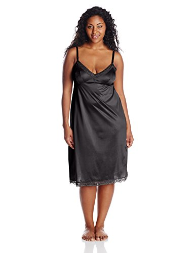 Vassarette Women's Lace Trim Anti-Static Full Slip 10803, Black Sable-26 Inch, 42