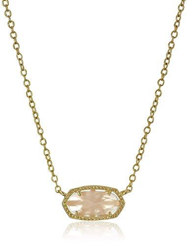 Kendra Scott Elisa Pendant Necklace for Women, Fashion Jewelry, 14k Gold-Plated, Rose Quartz