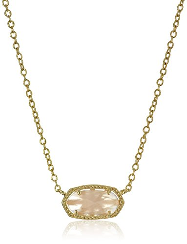 Kendra Scott Elisa Pendant Necklace for Women, Fashion Jewelry, 14k Gold-Plated, Rose Quartz