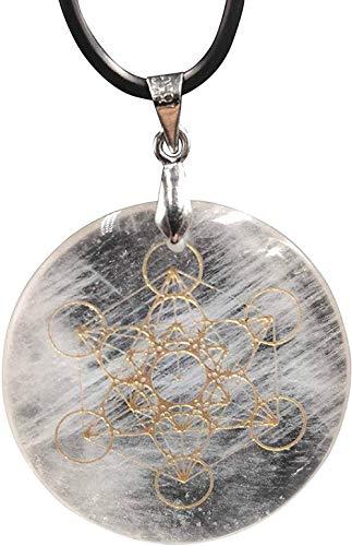 BACKZY MXJP Collar 30 Mm Piedra Natural Cuarzo Colgante De Cristal Blanco Péndulo Flor De La Vida Colgantes 7 Chakra Péndulo Collar Longitud De Cadena 45Cm Collar