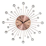 Deco 79 85517 Wall Clock with Clear Crystal Accents 15' Round Iron Burst Design, Diameter, Copper/Black