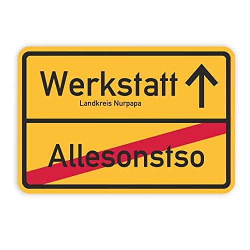 Werbeagentur-Finkbeiner Ortsschild Werkstatt, Türschild - 40x30cm auf 3mm Hartschaum