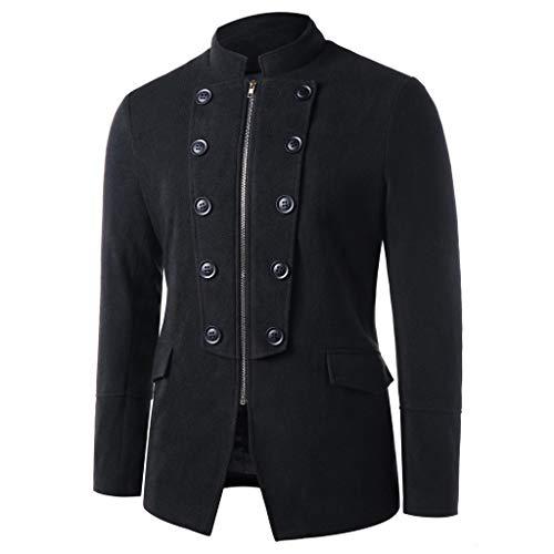 Mens Trench Coat Slim Fit Double Breasted Overcoat,Jchen Men's Stand Collar Double-Breasted Zipper Woolen Coat Coat Windbreaker Coat Best Valentine Gifts