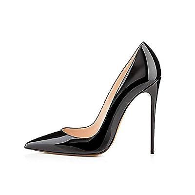 GENSHUO Women Fashion Pointed Toe High Heel Pumps Sexy Slip On Stiletto Dress Shoes 12cm-BK-6