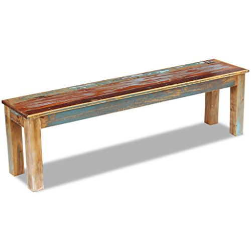 Festnight Reclaimed Wood Bench Handmade Dining Bench Home Garden Furniture for Both Indoor Outdoor Use (63' x 13.8' x 18.1')