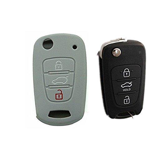 Muchkey® Coque en silicone pour clé à distance 3 boutons Gris