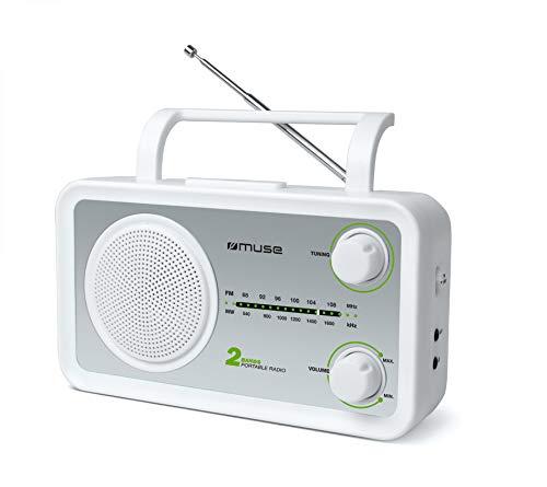 Muse M-06 DS Radio de Cuisine (FM, Ondes Moyennes MW) Fonctionne sur Secteur et sur Piles Entrée AUX pour téléphone Portable Prise Casque Antenne télescopique Blanc.