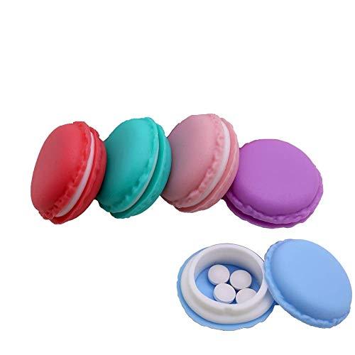 Ducomi macabox Vorm Set van 5 dozen - Macaron Hard Rubber Ideale Pillen en Vitaminen - Doos voor Ringen, Kettingen, Headset Poort en Accessoires - Afmetingen: 4 X 2 cm