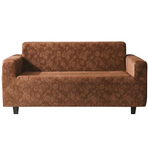 Zxb-shop Funda de sofá de terciopelo impreso, 1 pieza elástica suave para sala de estar, protector de sillón lavable con parte inferior elástica I de 4 plazas