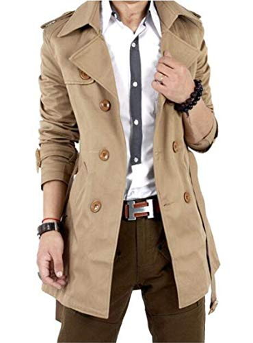GESELLIE Men's Slim Double Breasted Trench Coat Belted Long Jacket Overcoat Outwear Khaki