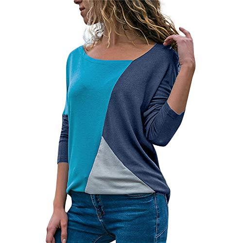 MRULIC Damen Kurzarm T-Shirt Rundhals Ausschnitt Lose Hemd Pullover Sweatshirt Oberteil Tops(S1-Marineblau,EU-42/CN-XL)