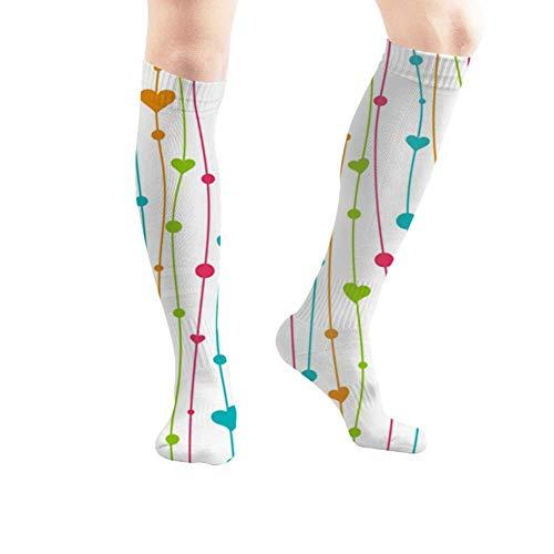 Jesse Tobias Herzen Valentinstag Einladungskarten Kid Vintage Compression Socks Hohe Stiefel Strümpfe Langer Schlauch für Yoga Walking für Frauen Mann