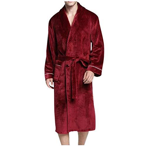 QiFei Dames en heren knuffelfleece badjas grootte lange mouwen nachthemd badjas voor heren van katoen saunamantel