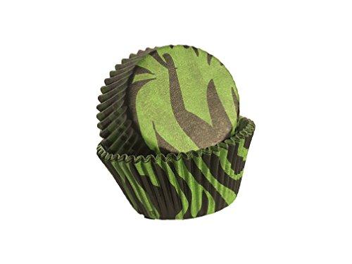 House of Marie Zebra-patroon zwart & groen muffinvormpjes/cupcakevormpjes van papier 50 stuks/gratis levering/Amazon Prime