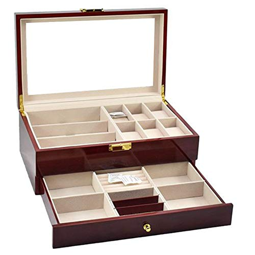 KNJF Watch storage box Multi-function Double Storage Display Box High-grade Spray Jewelry Jewelry Box Watch Glasses Case Suitable for all kinds (Color : Brown, Size : S)