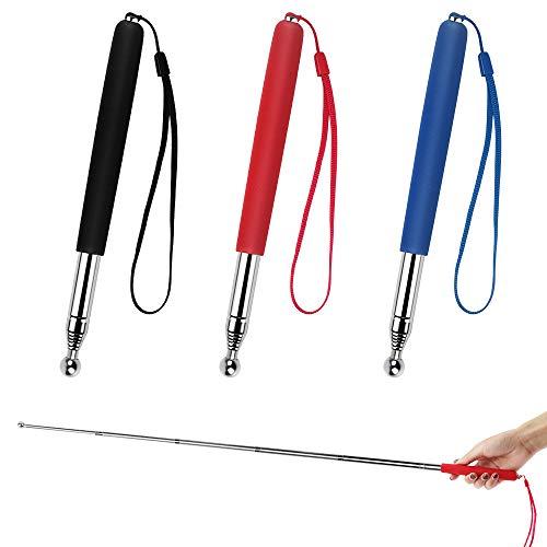 3 Stück Teleskopish Zeigestab Lehrer Zeigestock aus Edelstahl Tragbare Handheld Zeiger für Lehrer Professoren Einziehbarer Lehrzeiger Ausdehnung von 21 auf 100cm (Rot Schwarz Blau)